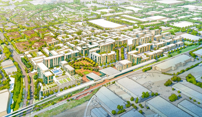 Mixed-use center surrounding Metrolink/High-Speed Rail Station Plaza
