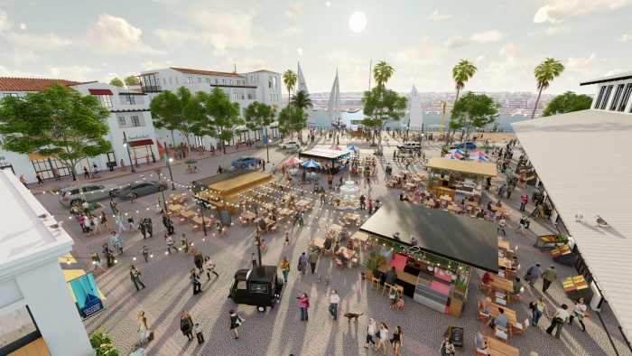 Envisioned public market plaza, shops, offices and boutique hotel at the wharf