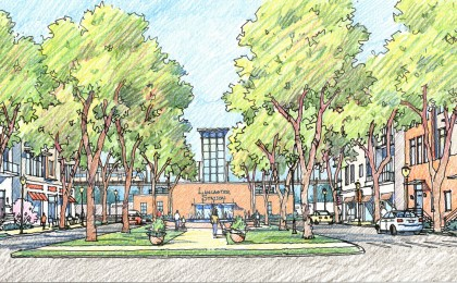 Proposed Station Green in new transit-oriented neighborhood center