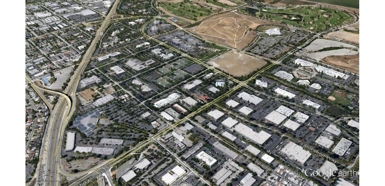 Aerial view of existing North Bayshore business park