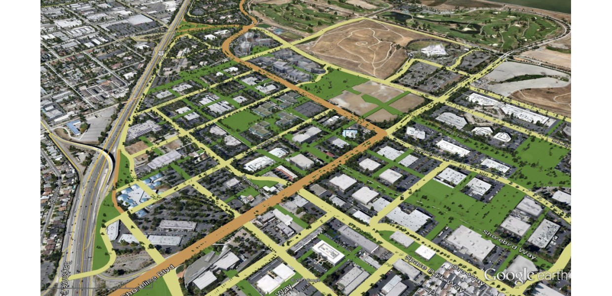Aerial view of Precise Plan public realm network and walkable block structure