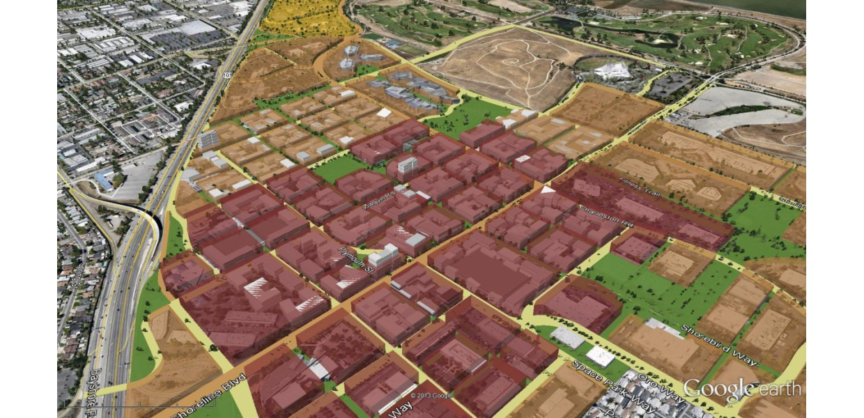 Aerial view of Precise Plan regulating plan and potential massing