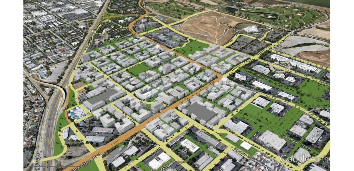 Aerial view of massing model of Precise Plan development potential