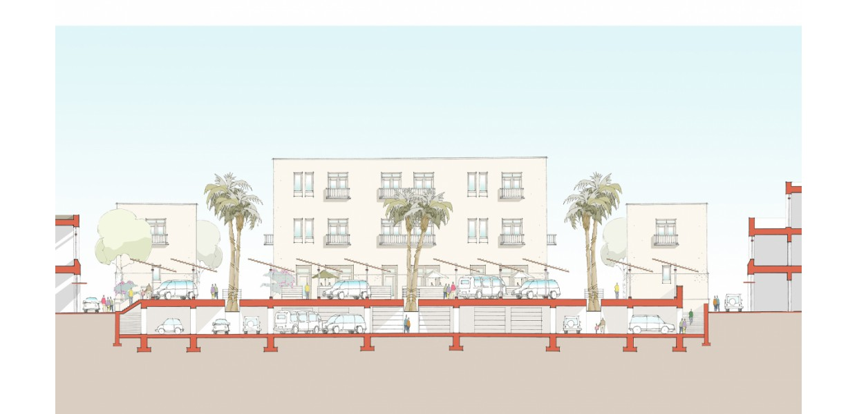 Low-scale parking structure concept for 111/El Paseo blocks