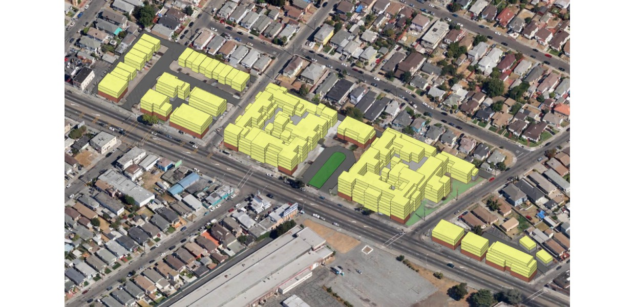 Massing study of mixed-use and housing infill adjoining neighborhoods