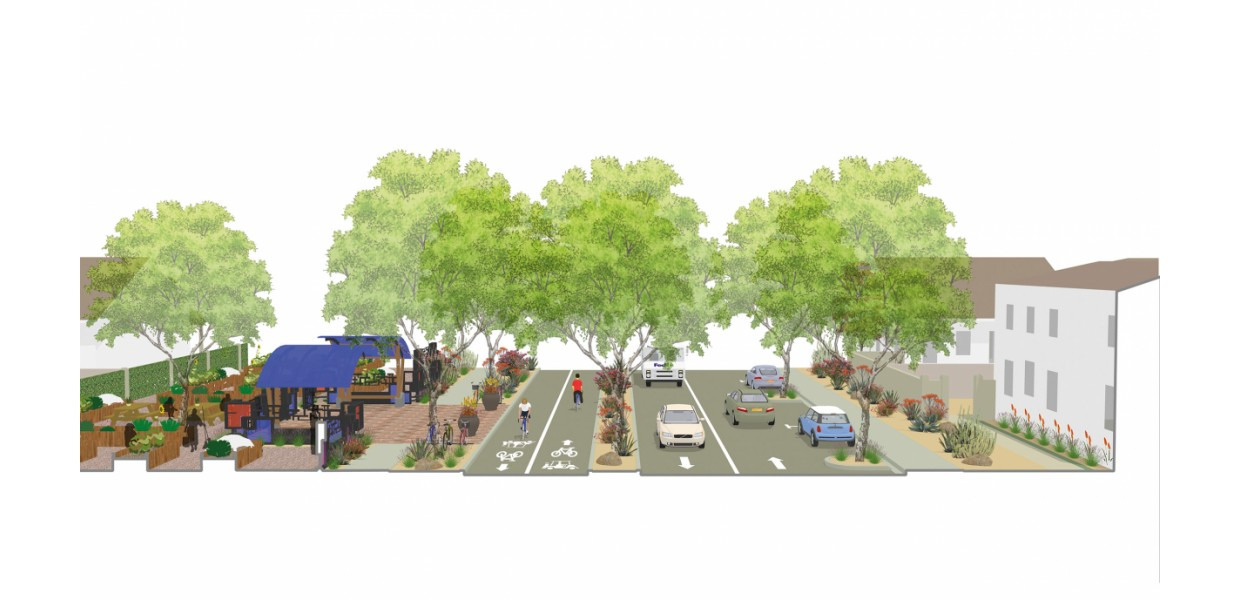 San Pablo Avenue - planned cycle track and road diet linking to Civic Center and College of the Desert