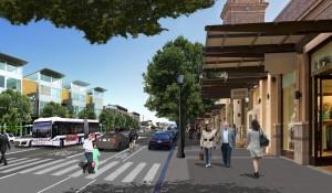 Looking east on International Boulevard, new mixed-use development