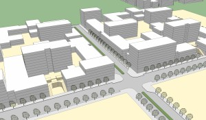 Massing model of T.O.D. blocks adjacent to BART station