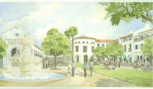 Perspective of mixed-use buildings on proposed town square